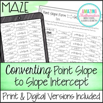Converting Point Slope Form to Slope Intercept Form Maze Worksheet