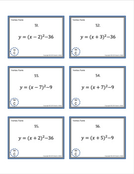 Converting Quadratic Functions Between Forms Matching Activity