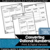 Converting Rational Numbers Guided Cornell Notes | Distanc