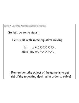 Lesson 3, Converting Repeating Decimals