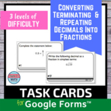 Converting Repeating Decimals Into Fractions Digital for Google™ Task Cards