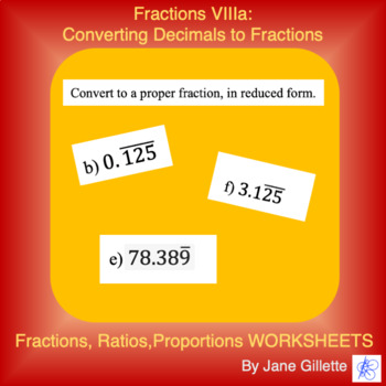 Convert Repeating Decimals To Fraction Teaching Resources Teachers