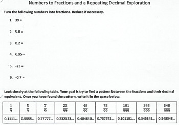 Converting Repeating Decimals to Fractions- 8.NS.1.1