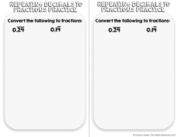 Converting Repeating Decimals to Fractions - Doodle Note Brochure for INB