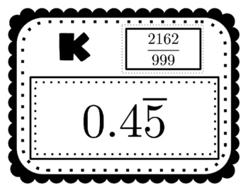 Converting Repeating Decimals to Fractions Scavenger Hunt