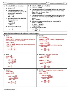 converting decimal expansions to fractions worksheet  teaching the  converting decimal expansions to fractions worksheet  teaching the lesson