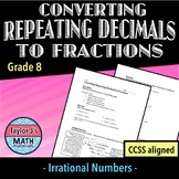 Converting Repeating Decimals to Fractions Practice Worksheet