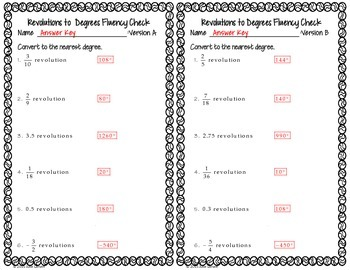 Converting  Revolutions to Degrees: Fluency Check: No Prep Fluent in Math Series
