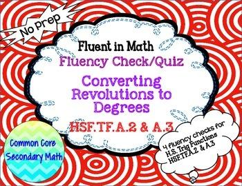 Converting  Revolutions to Degrees: Fluency Check: No Prep