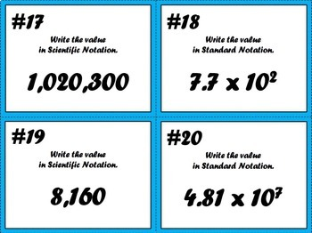 Converting Scientific Notation to Standard Notation Task Cards
