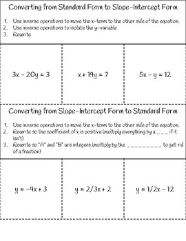 Converting Standard Form to Slope Intercept Form