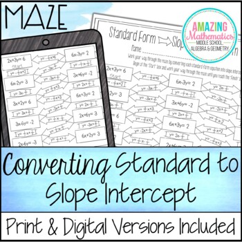 Converting Standard Form To Slope Intercept Form Maze By Amazing