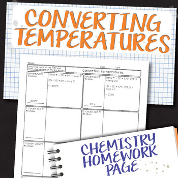 Converting Temperatures Chemistry Homework Worksheet
