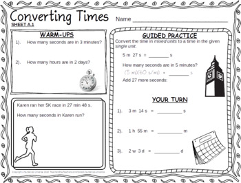 Time Conversions Worksheets