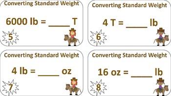 Converting U.S. Standard Weight Task Cards ((Cowboy Theme))