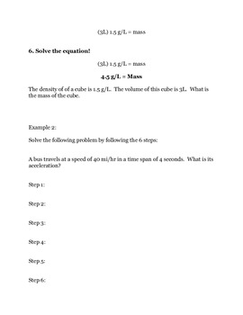 Converting Units, Density, and Volume Equations 3-Pack