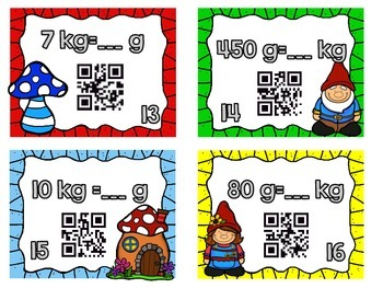 Converting Units of Mass/Weight Task Cards-With & Without QR Codes