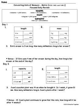 Converting Units of Measure - Metric - Focused Daily Review - 4th Grade