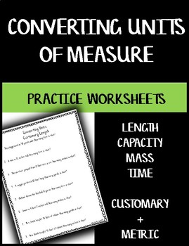 Converting Units of Measure - Practice Worksheets BUNDLE