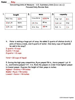 Converting Units of Measure - Customary Units - Focused Daily Review - Bell Work