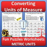 Converting Units of Measurement Worksheets (Puzzles) METRIC
