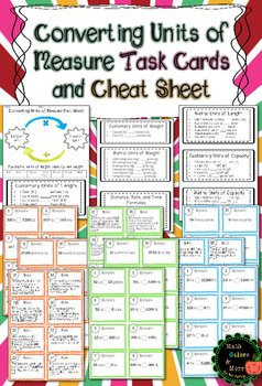 Converting Units of Measurement Task Cards: 72 cards included!!!