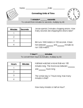 Converting Units of Time Notes
