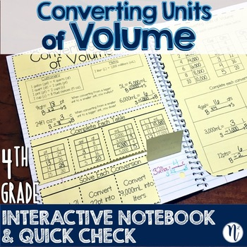 Converting Volume Units Interactive Notebook Activity & Quick Check TEKS 4.8B