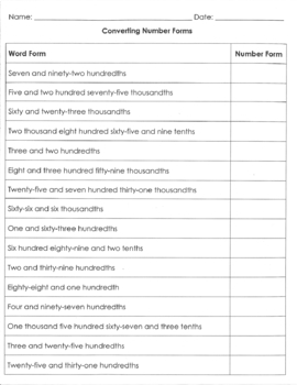Converting Word Form to Standard Form with Decimals 5.NBT.A.3a