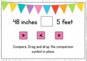 Converting Units of Measure: Customary Length Digital Boom Cards