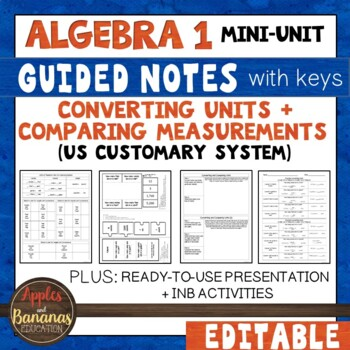 Converting Units and Comparing Measurements - US Customary System INB Activities