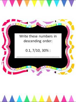 Converting and Ordering Fractions, Decimals and Percents~Lessons and Worksheets