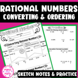 Converting and Ordering Rational Numbers Doodle Notes