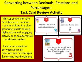 Converting between Decimals, Fractions and Percentages - Task Card REVIEW GAME