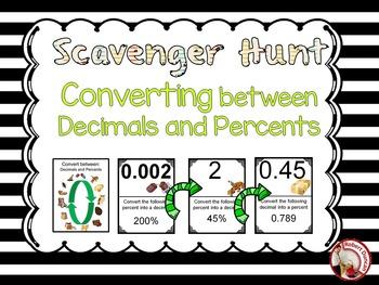 Decimals and Percents - Scavenger Hunt