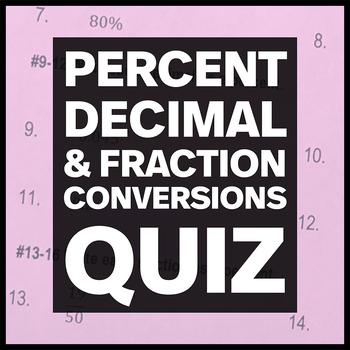 Converting between Percentages, Decimals and Fractions Quiz