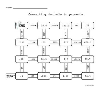 Converting between percents and decimals maze