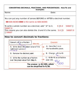 Converting fractions, decimals, and percents with foldable