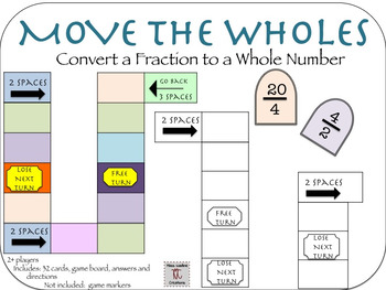 Converting fractions to whole numbers Game for Centers