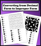 Converting from Decimal Form to Improper Form Color Worksheet