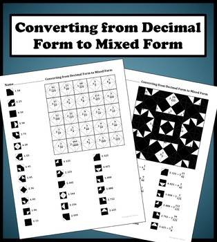 Converting from Decimal Form to Mixed Form Color Worksheet