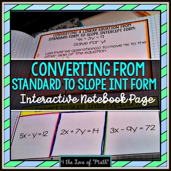 Converting From Standard Form To Slope Intercept Form Foldable Page