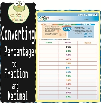 Converting from percentage to fraction  & decimal