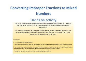 Converting improper fractions and mixed numbers