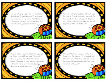 Converting inches, yard, feet word problem task cards