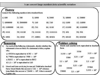 Converting large numbers into scientific notation- mastery worksheet