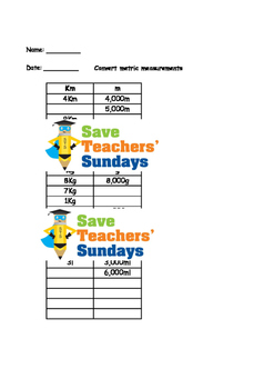 Converting measurements lesson plans, worksheets and more (metric)