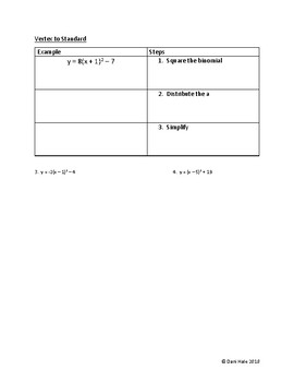 Converting the Quadratic equation guided notes