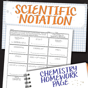 Converting to Scientific Notation Chemistry Homework Worksheet