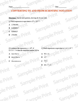 Converting Scientific Notation: Common Core Styled Questions Classwork